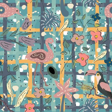 Flamingo, Toucan and kiwi bird. Exotic Bird Seamless Pattern. Vector illustration Illusztráció