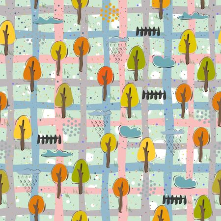 Seamless Pattern with Cute Trees. Scandinavian Style. Vector Illustration