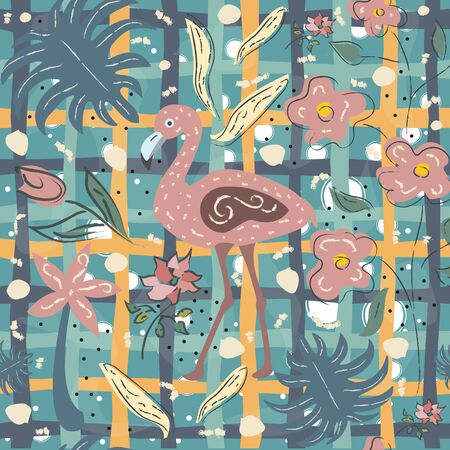 Flamingo Bird Seamless Pattern. Vector illustration