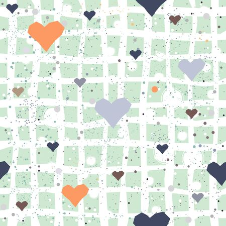 Cute Hearts Background. Seamless Pattern with hearts. Vector Illustration.