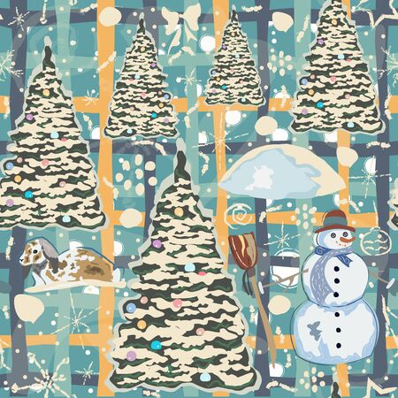 Winter Seamless Pattern with bunnies, spruce trees and snowman. Blue Background with transparent bear and other winter doodles. Creative Design. Vector Illustration. Illusztráció