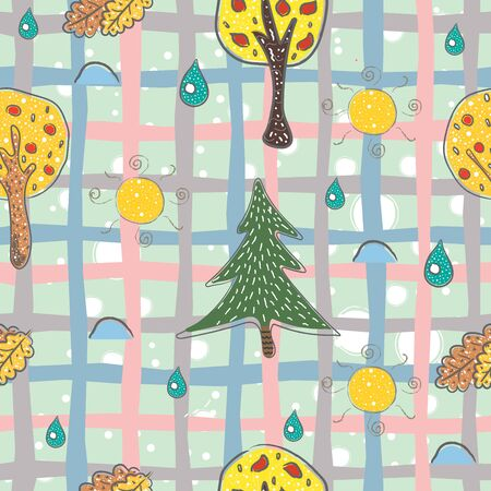 Seamless Pattern with Hand Drawn Trees, rain, leaves and Sun. Scandinavian Hand Drawn Style. Vector Illustration