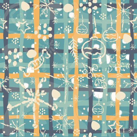 Seamless Winter pattern with hand drawn spruce, leafs, snowflakes. Winter/Merry Christmas Collection. Great For backgrounds, wrapping paper, prints, wallpaper, cards, textiles, etc Illusztráció