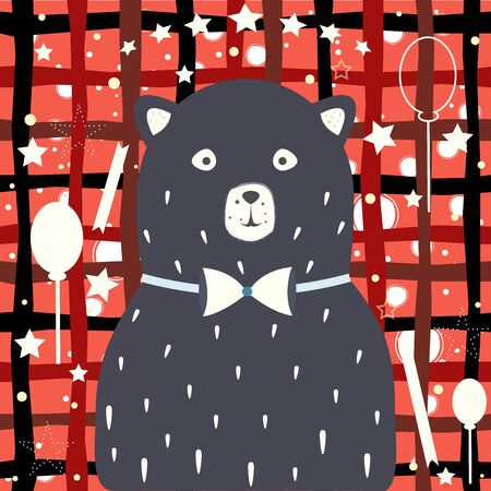 Baby Boy Birth announcement. Baby shower invitation card. Cute Bear announces the arrival of a baby boy.