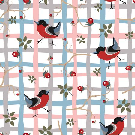 Bird Seamless Pattern. Bullfinch birds on a dark background with red berries of rowan and brier. WinterMerry Christmas Collection.Vector Illustration.
