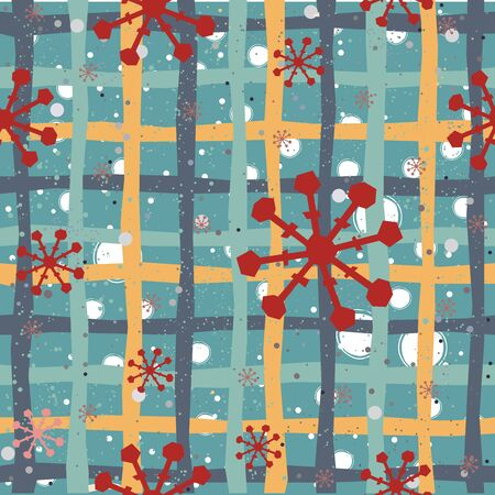 Cute Winter Seamless Pattern with Snowflakes. Vector Illustration. Illusztráció