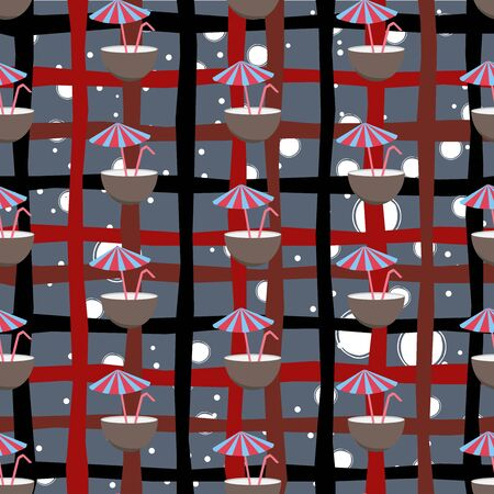 Seamless Pattern with half coconut drink, tube and umbrella, polka dot style. Cocktail in half coconut repeating pattern. Travel and Leisure Theme. Vector Illustration