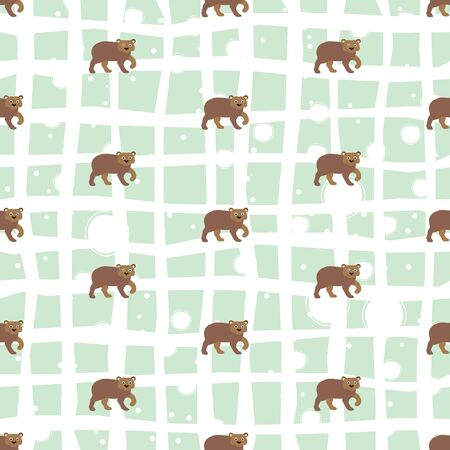 Seamless pattern with brown bears pattern  Vector Illustration