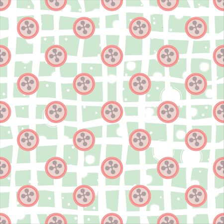 Seamless Pattern with buttons. Vector Illustration