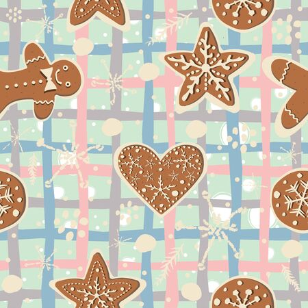 Gingerbread cookie seamless background. Creative Design. Vector Illustration Ilustracja