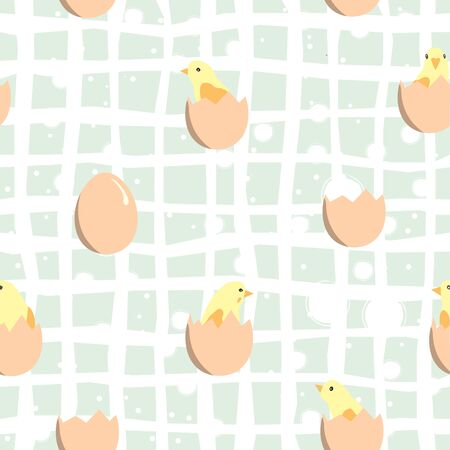 Seamless pattern with chickens in eggs. Vector Illustration
