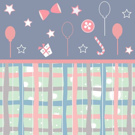 Cute Baby Shower Collection for cards. vector Illustration