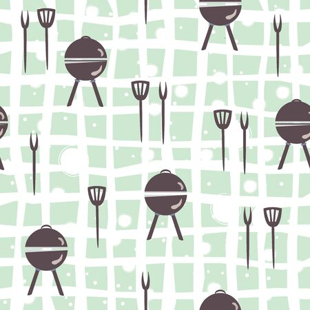 Seamless pattern with grill and kitchen utensils. Vector Illustration