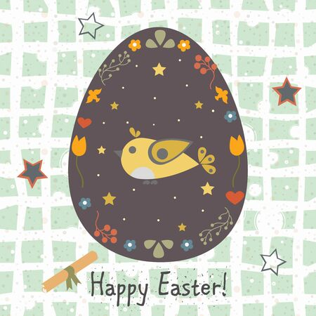 Festive Easter Egg with Cute Bird. From Happy Easter Animal Collection.