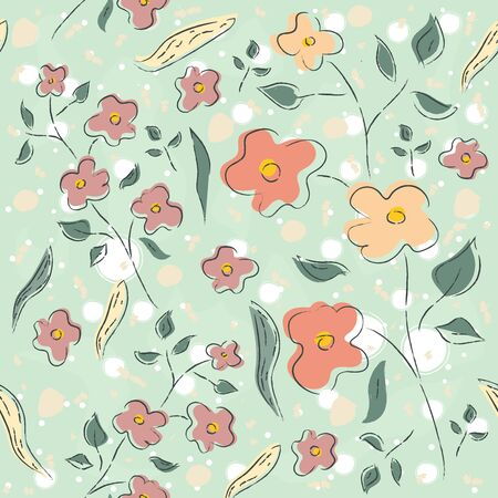 Hand Drawn flowers on dotted background. Hand drawn, whimsical, traditional style. Colorful artistic design, blossom. For backgrounds, wallpapers, fabric, prints, textiles, swatches, etc.