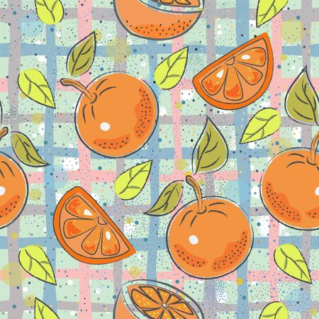 Seamless Pattern with Oranges. Scandinavian Style.