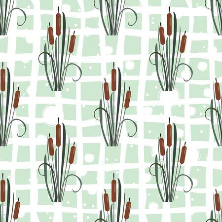 Seamless Pattern with elegant reed bushes on subtle pink background. Vector Illustration