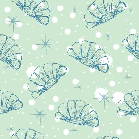 Seamless Pattern with hand drawn seashells. Delicate Design. Vector Illustration