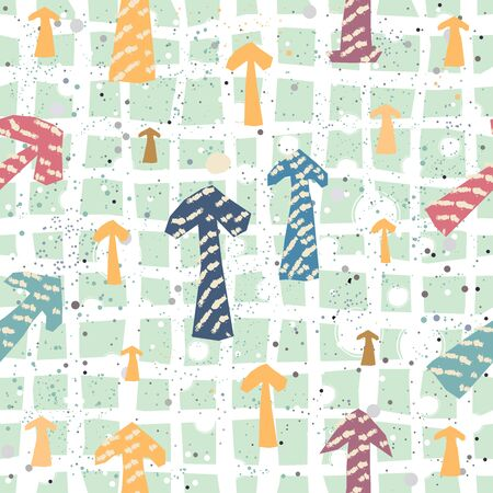 Cute seamless pattern with arrows pointing up. Repeating pattern on dotted messy background. Vector Illustration
