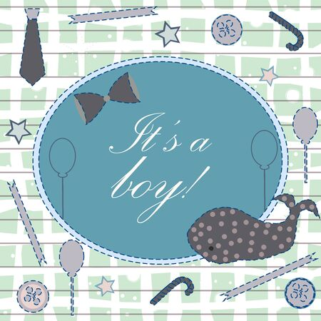 Creative Baby Shower Card. Vector Illustration