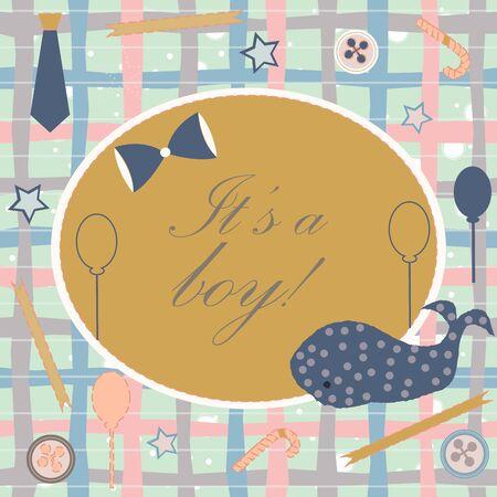 Anuncio de nacimiento de Baby Boy. Tarjeta de invitación de baby shower. Linda ballena anuncia la llegada del niño. Diseño de tarjeta sobre fondo verde azulado con cintas, corbata, lazo, etc. Diseño moderno. Ilustración de vector. Ilustración de vector