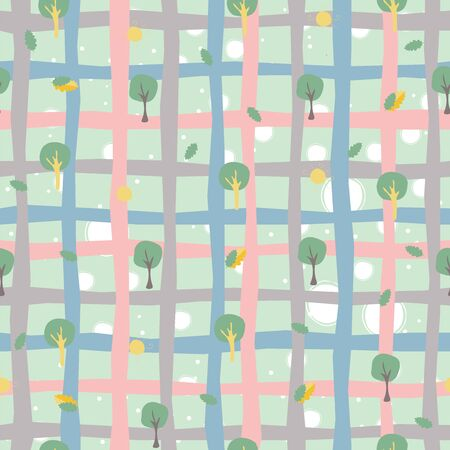 Seamless Tree Pattern for Summer Themes. Vector Illustration