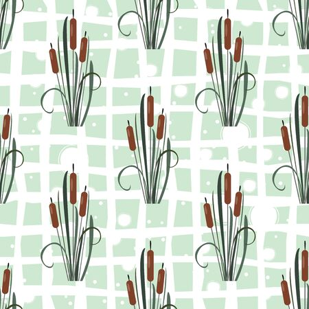 Seamless Pattern with reed on black. Vector Illustration Illustration