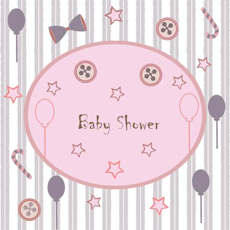 Baby Shower Invitation Card Design with flamingo, festive balloons, candy, bow, buttons, etc. Baby Shower Collection. Vector Illustration