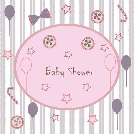 Conception de carte d'invitation de douche de bébé avec flamant rose, ballons festifs, bonbons, arc, boutons, etc. Collection de douche de bébé. Illustration vectorielle