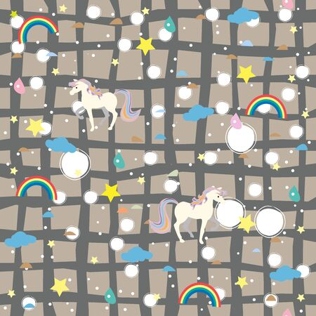 Unicorn Seamless pattern with decorative elements. Vector Illustration.