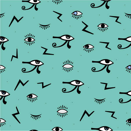 Third Eye Seamless pattern. Yellow, blue and black colors. Seamless Pattern. Psychedelic eyes. Egyptian, closed and opened eye, suspicious eye. Good for webs, fabric cover, books, textiles, etc.