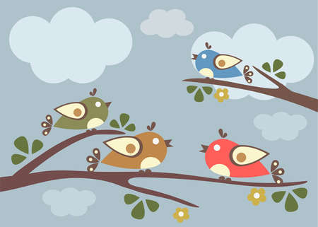 Birds sitting on tree branches. Vector Illustration, sunny day