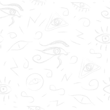 Seamless Pattern with Eyes. Hand Drawn, whimsical style. Third Eye Seamless pattern. Yellow, blue and black colors. Seamless Pattern. Psychedelic eyes.
