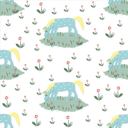Seamless pattern with funny hand drawn blue horse with stains. Childish fairy tale Style. Repeating Pattern. Vector Illustration
