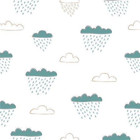 Cute Cloud seamless Pattern. Scandinavian Hand Drawn Style. Rainy Day. Dotted Background Ilustracja