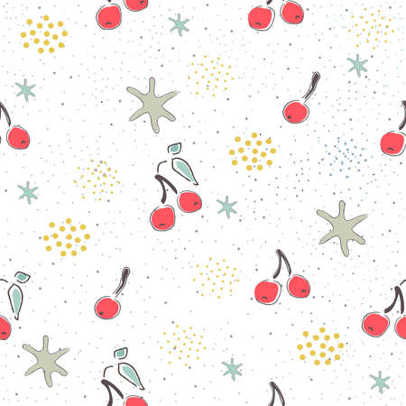Seamless Pattern with Cute Cherries on cute background. Scandinavian Style.
