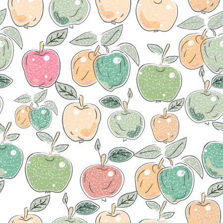 Cute Seamless Pattern with Apples. Scandinavian Hand Drawn Style. Vector Illustration
