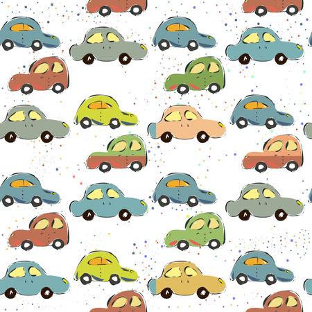 Seamless Pattern with Cute European Cars. Scandinavian Style. Vector Illustration Ilustracja