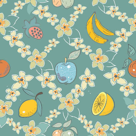 Seamless Pattern with Cute Fruits.  Scandinavian Style. Vector Illustration