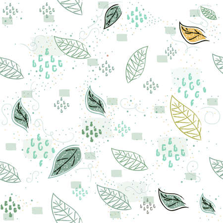Seamless Pattern with Flying leaves. Scandinavian Style. Vector Illustration