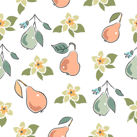 Seamless Pattern with Cute Hand Drawn Pears. Scandinavian Style. Vector Illustration