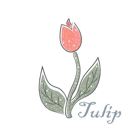 Stylish Icon Of a Flower. Hand Drawn Delicate Design. Scandinavian Style. Vector Illustration Ilustracja