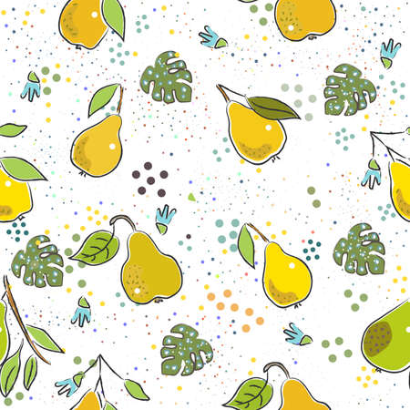 Seamless Pattern with Cute Vegetables. Scandinavian Style. Vector Illustration Ilustracja