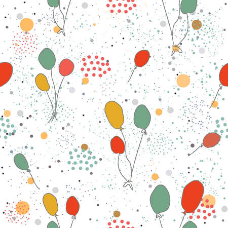 Hand Drawn Seamless Pattern with Pink Balloons. Great for wedding cards, postcards, t-shirts, bridal invitations, brochures, posters, gift wrapping, wall art, wallpapers, etc.Vector Illustration. Ilustracja