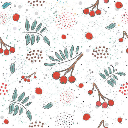 Red berry, Christmas Brier Spray Pattern. Hand drawn, whimsical, traditional style. Colorful artistic design. For backgrounds, wallpapers, fabric, prints, textiles, wrapping, cards, cover. Ilustracja