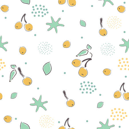 Cute Seamless Pattern with cherries and dotted background. hand Drawn Delicate Design. Scandinavian Style. For cards, templates, gift paper, prints, decorations, templates, etc. Vector Illustration