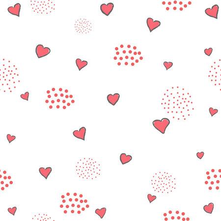 Hand Drawn Heart seamless Pattern. Vector Illustration Ilustracja