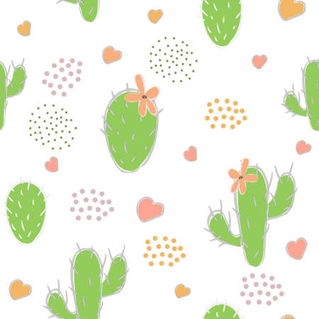 Cute seamless pattern with green cacti, grouped dots and hearts on white paper background. Vector Illustration