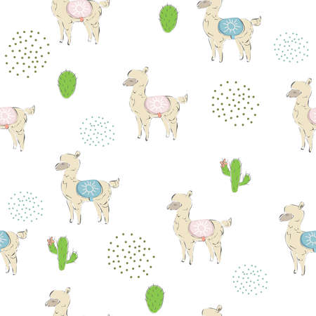 Cute seamless pattern with hand drawn couple of alpacas. Valentine's Day Holiday. Delicate cute design on white background. Great for cards, decor, swatches, fabric, etc. Vector Illustration