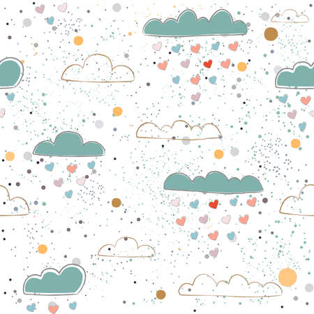 Cute Seamless pattern with hearts and clouds raining hearts on paper background. Vector Illustration